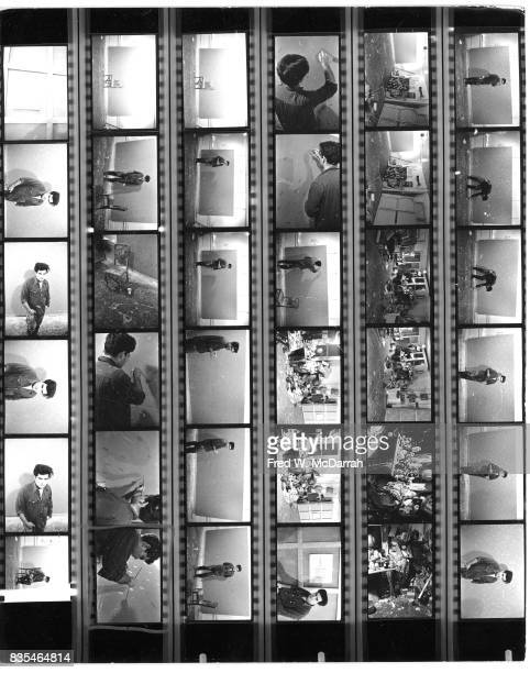Contact sheet of various images of Japaneseborn American artist Lawrence 'Larry' Poons and his Greenwich Village loft New York New York February 2...