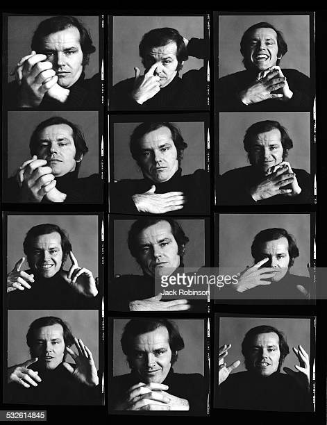 Contact sheet of various portraits of American actor Jack Nicholson New York New York January 1970