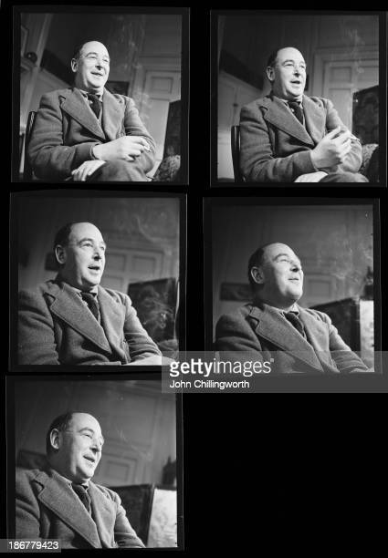 A contact sheet showing English novelist and scholar C S Lewis a fellow and tutor of Magdalen College Oxford in his college rooms November 1950...