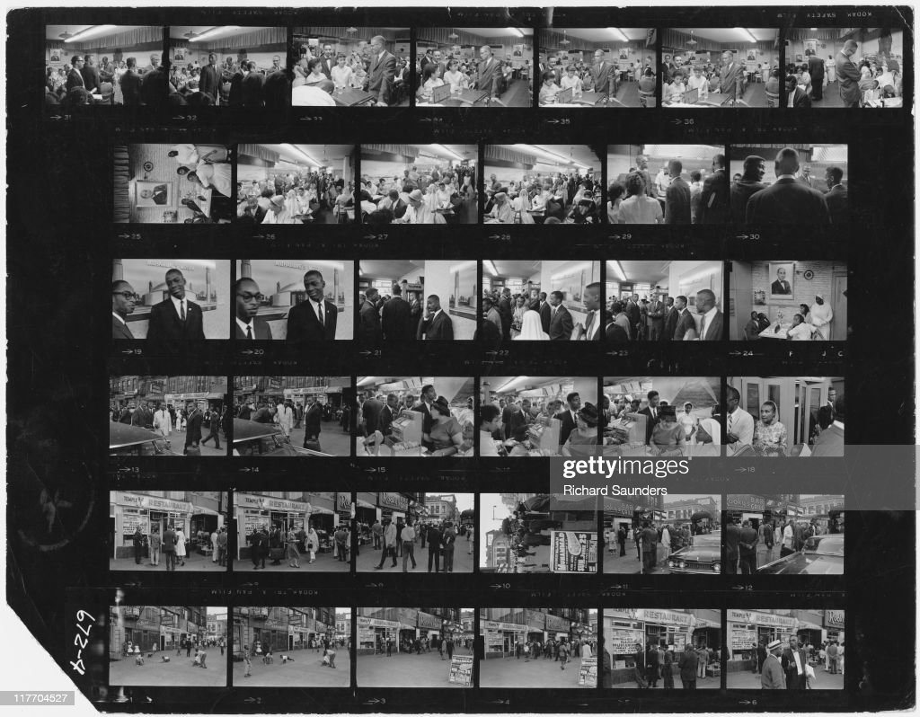 A contact sheet showing images of AfricanAmerican Muslim minister and civil rights activist Malcolm X during a visit to Temple 7 a Halal restaurant...