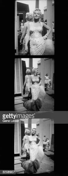 Contact sheet showing three fulllength photographs of American actor Marilyn Monroe posing in a white beaded gown on the parking lot of the 20th...