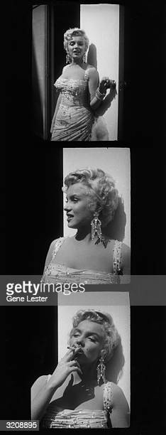 Contact sheet showing three photographs of American actor Marilyn Monroe posing in a white beaded gown on the parking lot of the 20th Century Fox...