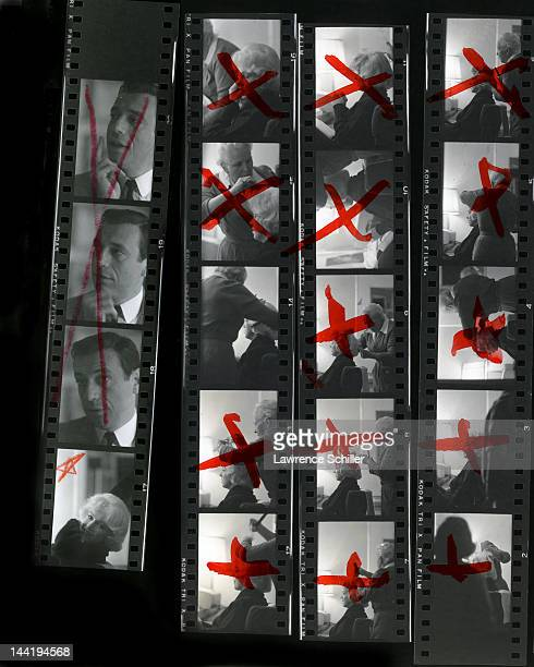 A contact sheet shows photos of American actress Marilyn Monroe and French actor Yves Montand during the filming of their movie 'Let's Make Love' Los...