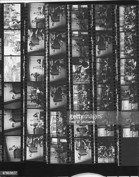 Contact sheet shows various images from a union meeting of writers and staffers from the Village Voice newspaper New York New York July 8 1982