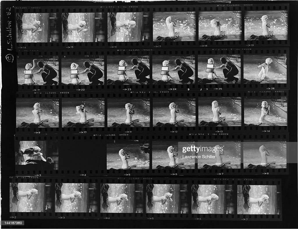 APPLY. A contact sheet shows various photos of American actress <a gi-track='captionPersonalityLinkClicked' href=/galleries/search?phrase=Marilyn+Monroe&family=editorial&specificpeople=70021 ng-click='$event.stopPropagation()'>Marilyn Monroe</a> (1926 - 1962) during the filming of the pool scene from 'Something's Got to Give' (directed by <a gi-track='captionPersonalityLinkClicked' href=/galleries/search?phrase=George+Cukor&family=editorial&specificpeople=226979 ng-click='$event.stopPropagation()'>George Cukor</a>), Los Angeles, California, May 23, 1962. Cukor appears in several of the images.