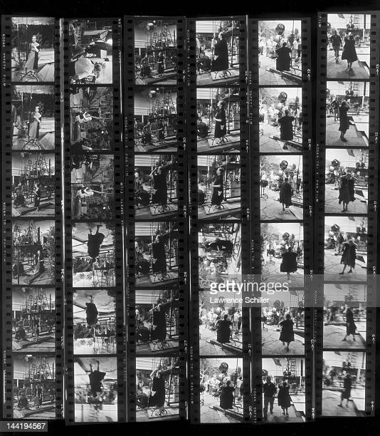 APPLY A contact sheets shows various photos of American actor and teacher Paula Strasberg on set during the filming of 'Something's Got to Give' Los...