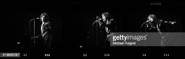A contact strip depicting singer Mick Jagger performing with the Rolling Stones on the group's 'Tour of the Americas' 1975