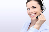 contact us, customer service operator woman with headset smiling isolated on white background