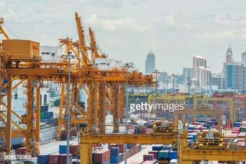 Container Cargo in dock for import export : Stock Photo