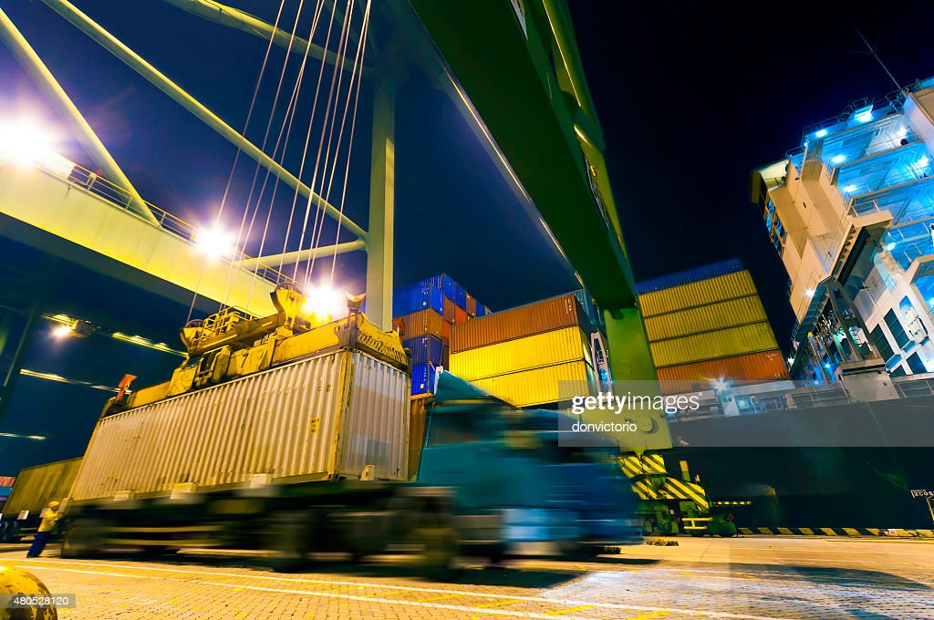 Container Cargo Operation in Port : Stock Photo
