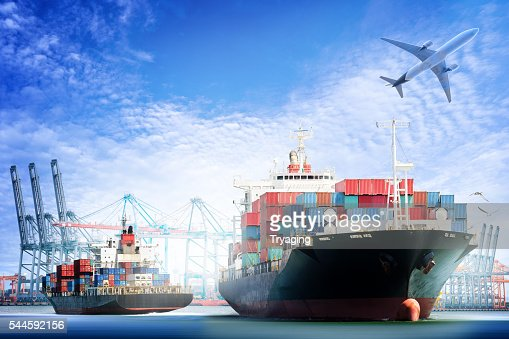 Container Cargo ship and Cargo plane with working crane : Stock Photo