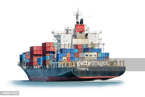 Container Cargo ship in the ocean isolated on white background. : Stock Photo