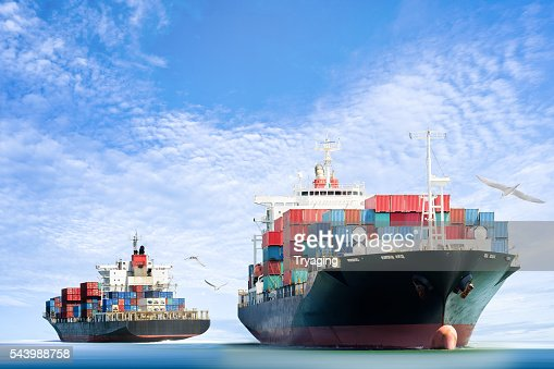 Container Cargo ship in the ocean with Birds flying : Stock Photo