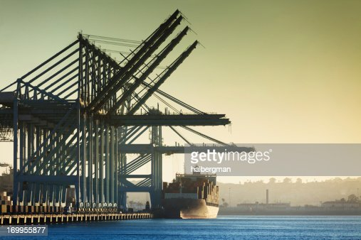 Container Cranes and Cargo Ship at Port of LA [Horizontal]