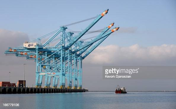 Container cranes stand in the Port of Los Angeles on April 16 2013 in San Pedro California The Port of Los Angeles Police are under a heightened...