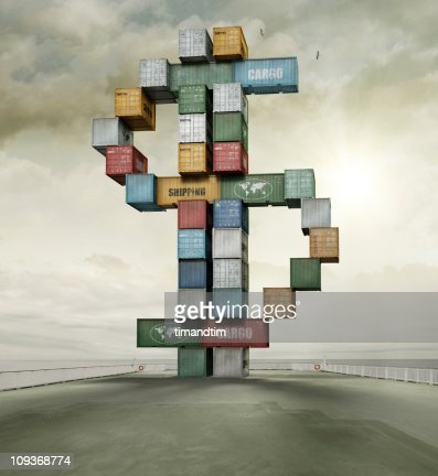 container currency dollar sunny cargo ship deck : Stock Photo
