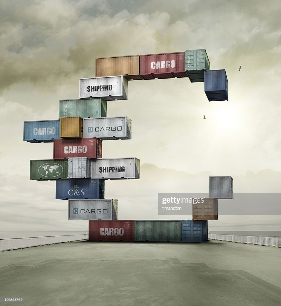 container currency euro on sunny cargo ship deck