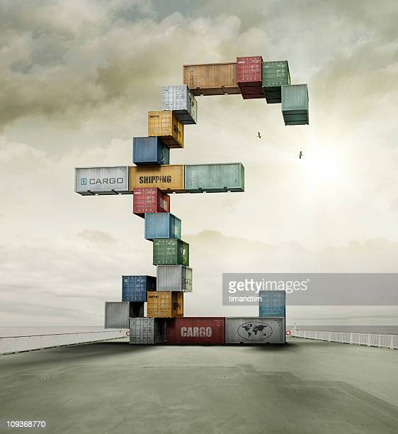 container currency pound on sunny cargo ship deck