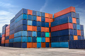 Many container on yard for import and export shipping.