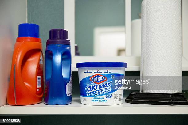 A container of Clorox Co Oxi Max Radiant White stain remover is arranged for a photograph in Princeton Illinois US on Wednesday Oct 26 2016 The...
