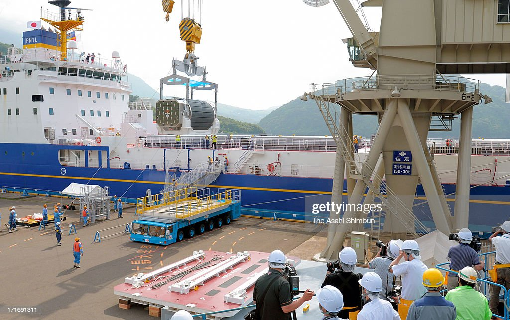 A container of mixed oxide (MOX) fuel is unloaded from a freighter at Kansai Electric Power Co Takahama Nuclear Power Plant on June 27, 2013 in Takahama, Fukui, Japan. Protesters oppose outside the plant as this is the first shipment of MOX fuel since the meltdowns at the Fukushima No. 1 power plant arrived in Japan, which plutonium stockpile is already equivalent to 5,000 Nagasaki-type atomic bombs.