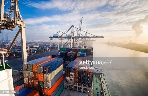 Container operation in port. : Stock Photo