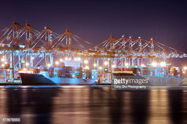 Container port and ships