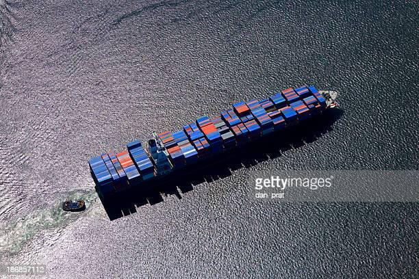 Frachtschiff Luftaufnahme