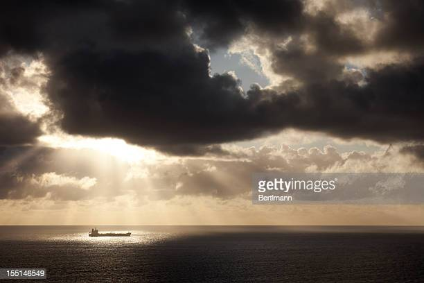 Container ship after a storm
