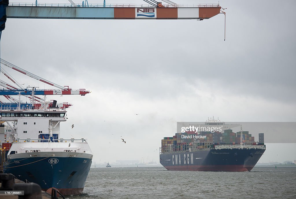 Container ship Alexander von Humboldt leaves the port of Bremerhaven on Sunday, August 18, 2013 in Bremerhaven, Germany.