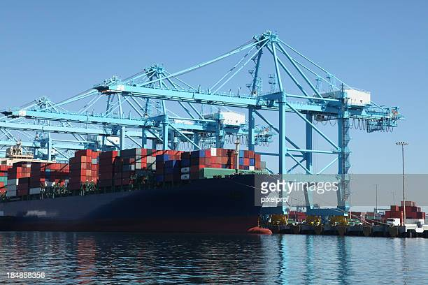 Container ship at commercial dock