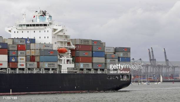A container ship carries cargo as it leaves Southampton Docks on June 19 2006 in Southampton England Southampton Docks are owned by Associated...