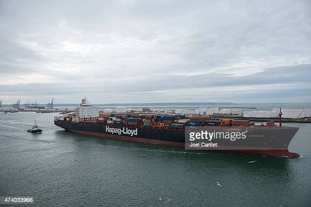 Container ship departing Port of Le Havre, France