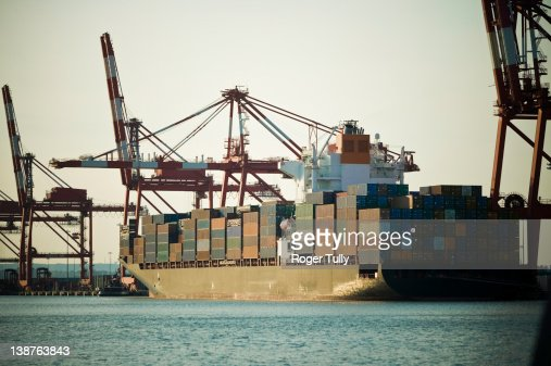 Container Ship docked at Port Newark : Stock Photo