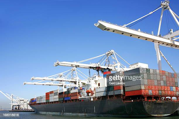 Container ship docked at port