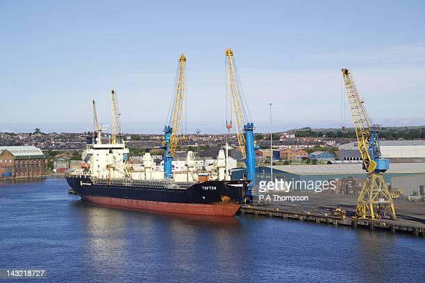 Container Ship, Docks, River Tyne, Tyne and Wear, England