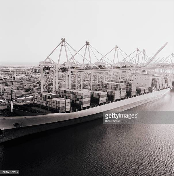 Container ship in dock in Long Beach, Ca