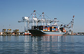 Container ship in dock, Melbourne, Australia