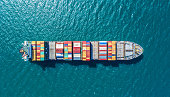 container ship in import export and business logistic.By crane ,Trade Port , Shipping.cargo to harbor.Aerial view.Water transport.International.Shell Marine.Top view.