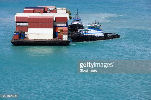 Container ship in the sea, Mawi, Hawaii Islands, USA : Stock Photo