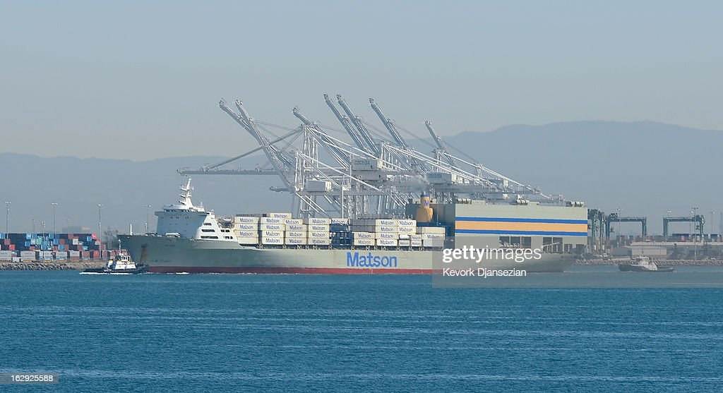 A container ship is moved into the Port of Los Angeles on March 1, 2013 in Los Angeles, California. Reports say that teh across the board sequestration budget cuts could slow movement of goods through U.S. ports.