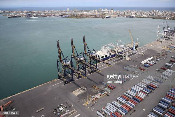 A container ship is seen docked at the port of San Juan as people deal with the aftermath of Hurricane Maria on September 25 2017 in San Juan Puerto...