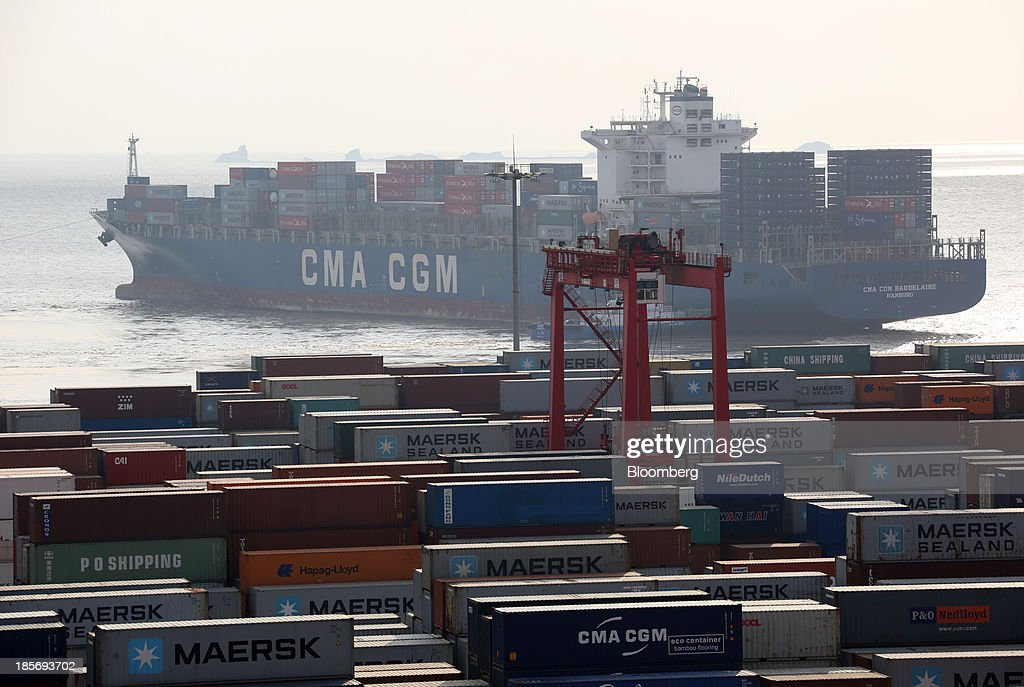 SA container ship leaves the Yangshan Deep Water Port, part of China (Shanghai) Pilot Free Trade Zone's Yangshan free trade port area in Shanghai, China, on Wednesday, Oct. 23, 2013. The area is a testing ground for free-market policies that Premier Li Keqiang has signaled he may later implement more broadly in the world's second-largest economy. Photographer: Tomohiro Ohsumi/Bloomberg via Getty Images