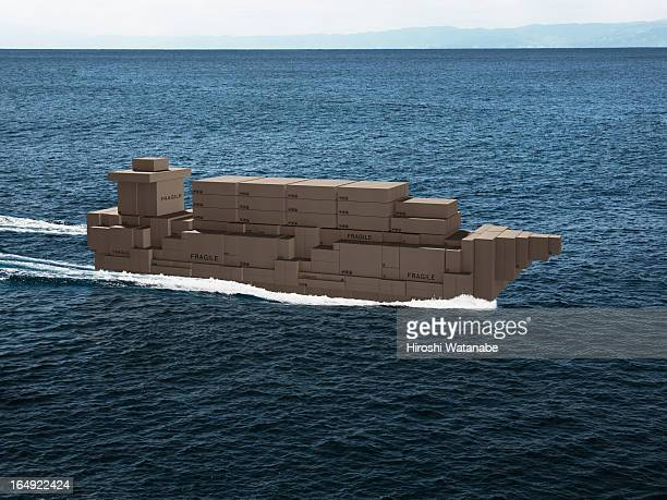 Container ship made out of cardboard boxes