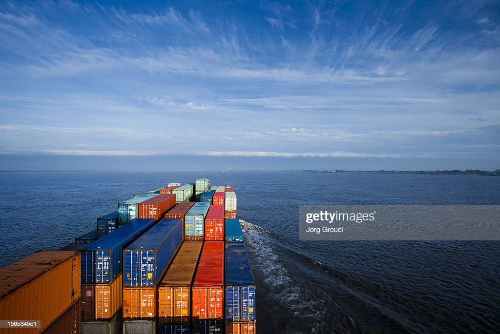 Container ship on Elbe river