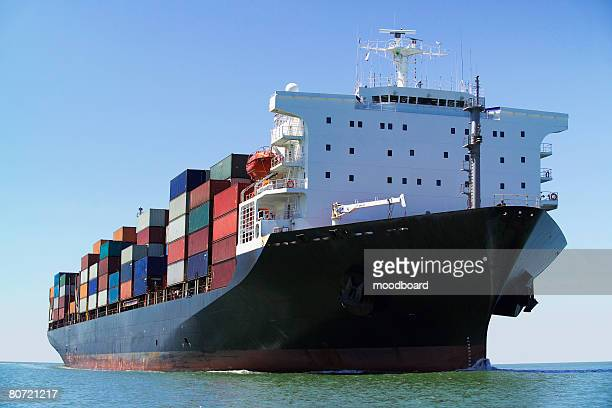 Container ship on ocean
