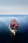Container Ship on Open Ocean