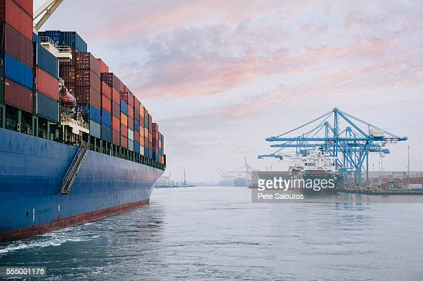 Container ship on river harbor, Tacoma, Washington, USA