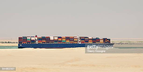 Container Ship on Suez Canal. Egypt