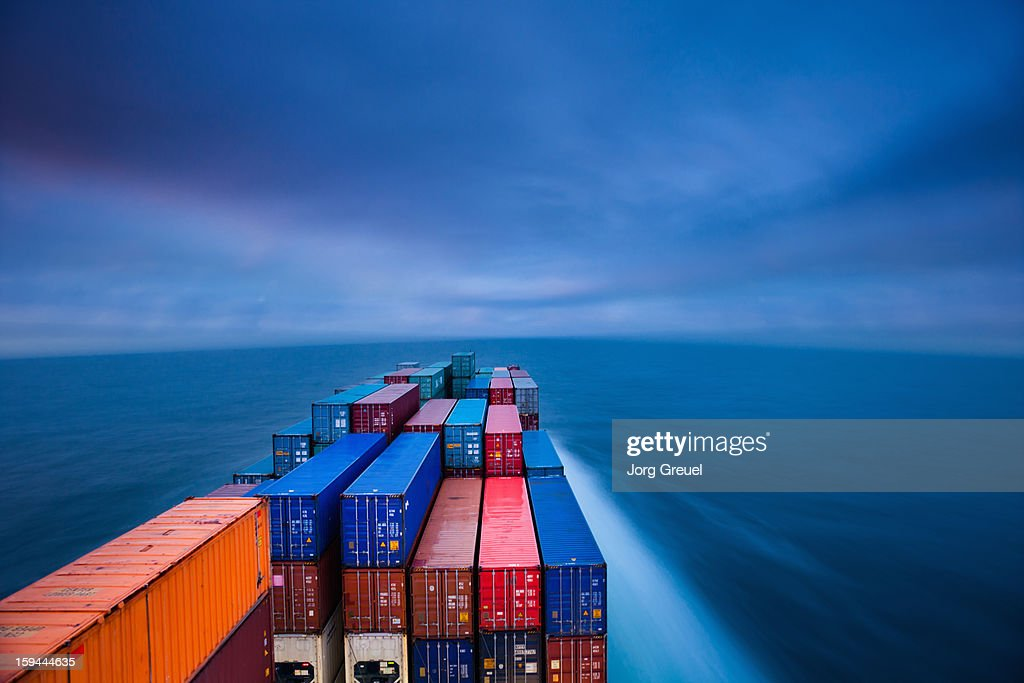 Container ship on the Baltic Sea at dusk